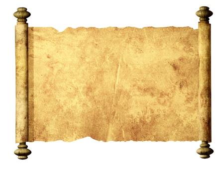 scroll?: Viejo pergamino. Aislado m�s de blanco