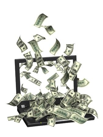 dinero volando: Imagen conceptual - ganancias en Internet