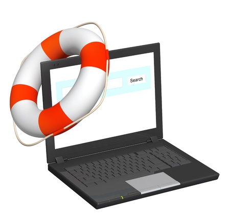Internet concept - help in the virtual world. Laptop and lifebuoy. Isolated over white Stock Photo