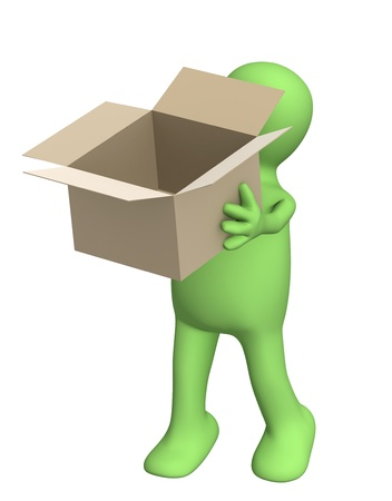 Puppet with empty opened box. Isolated over white photo