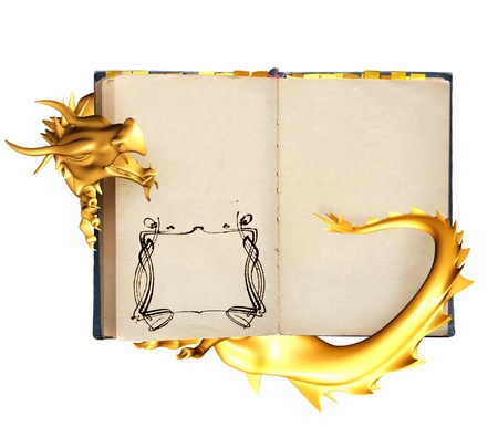 Dragon and old book. Object isolated over white Stock Photo - 10559992