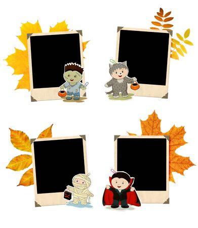 niños con pancarta: Colección de banners de Halloween grunge. Zombie, momia, hombre lobo y vampiro