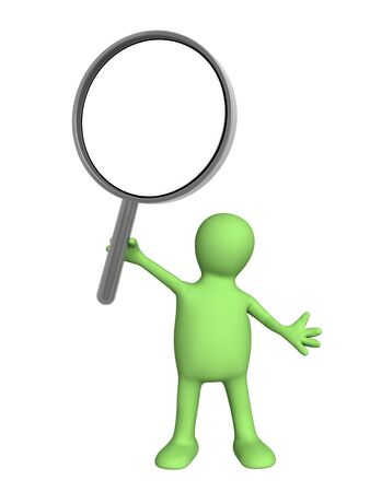 looking glass: 3d puppet, holding in hands the magnifier. Isolated over white Stock Photo