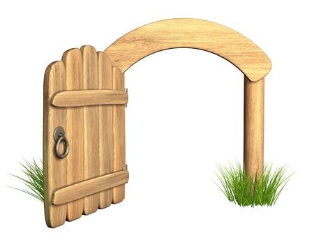 apriva: Inaugurato vecchia porta di legno. Oggetto isolato su bianco