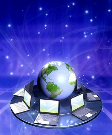 soft center: Vertical background with Earth and laptops Stock Photo