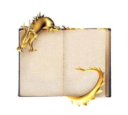 dragones: Drag�n y libro viejo. Objeto aislado en blanco Foto de archivo