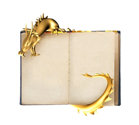 Dragon and old book. Object isolated over white Stock Photo