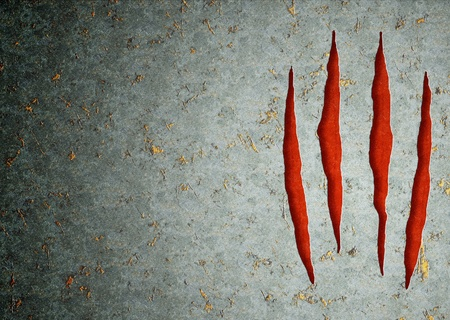 Horizontal background - metal, ripped monster claws photo
