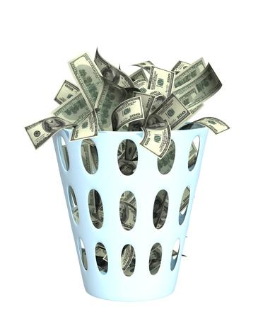 cesto basura: Dinero a la basura. Objeto aislado más de blanco