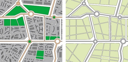 suburban street: Collection of seamless patterns - city map