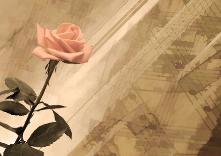 romanticism: Vintage grunge background with rose Stock Photo