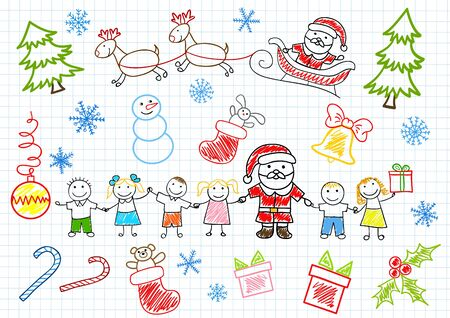 Santa Claus and children. Sketch on notebook page Vector