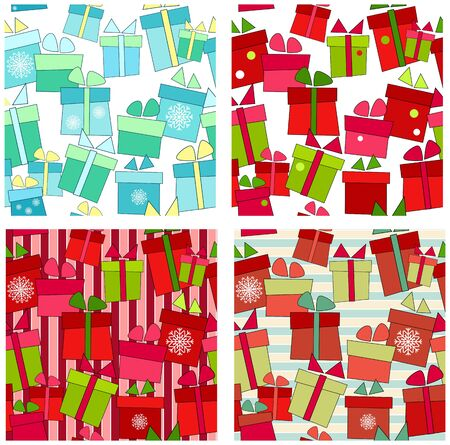 Collection of seamless background with presents Vector