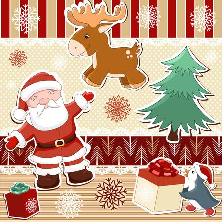 scrapbooking: Collection of seamless patterns and elements for Christmas scrapbooking design