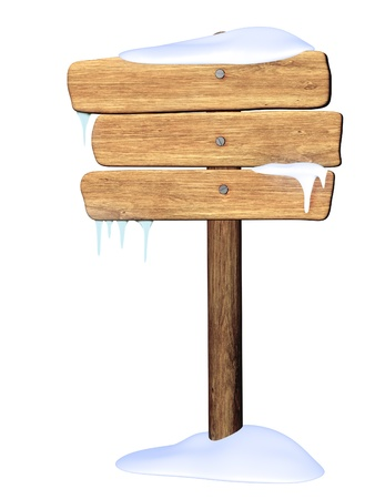 icicle: Wooden signboard from three boards. Object isolated over white