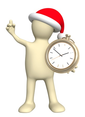 Time before Christmas. Puppet with clock - isolated over white photo