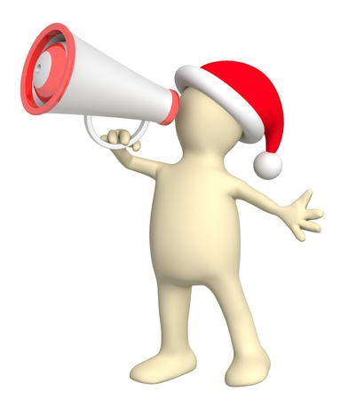 Christmas message. 3d puppet with megaphone. Isolated over white photo