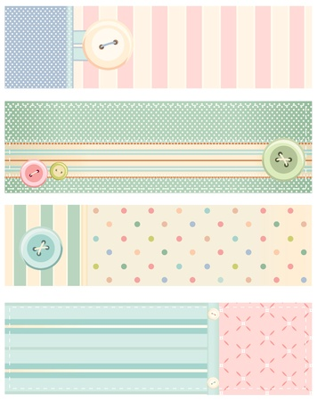patchwork: Set of banners in shabby chic style