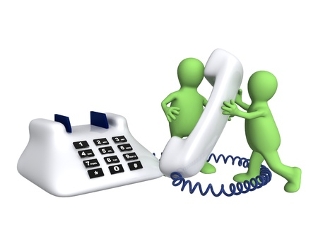 customer service phone: Two puppets with phone - isolated over white