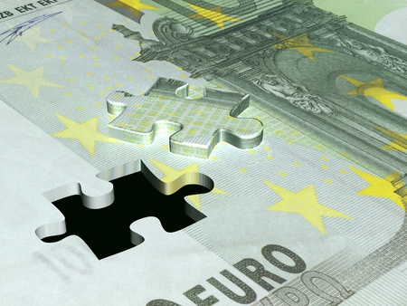 Puzzle with the image of euro photo