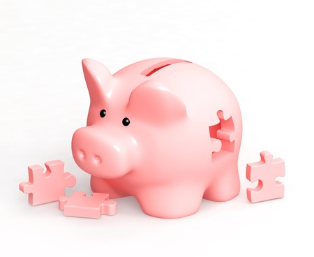 making hole: Piggy bank and puzzles. Isolated over white