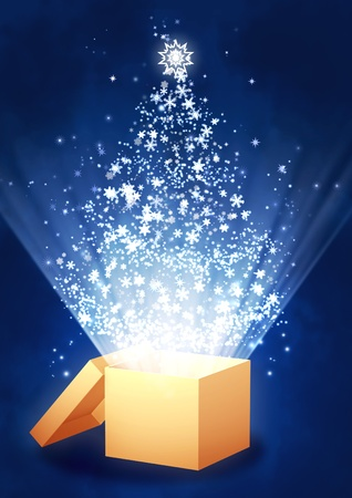 Christmas gift - vertical background with magic box photo