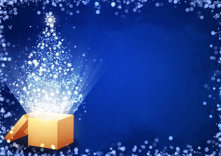 lighting effect: Christmas gift - horizontal background with magic box