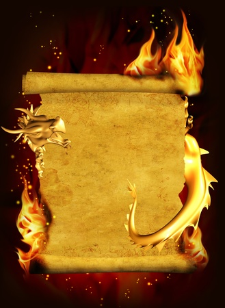 Dragon, fire and scroll of old parchment. Vertical background photo
