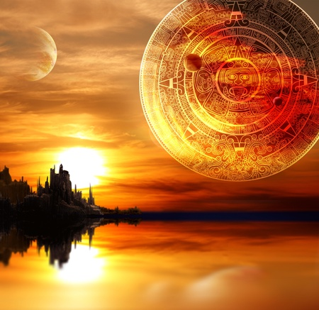 mayan prophecy: Fantasy landscape and Maya calendar Stock Photo