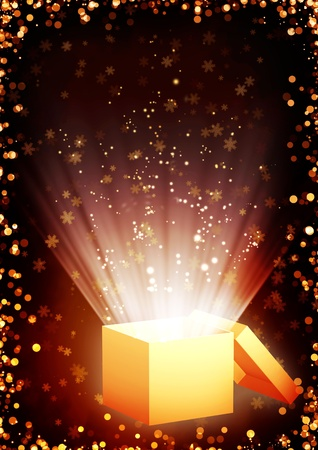 opened: Christmas fairy-tale. Vertical background with magic box Stock Photo