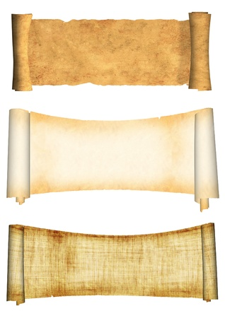 ancient papyrus: Collection of old parchments. Isolated over white