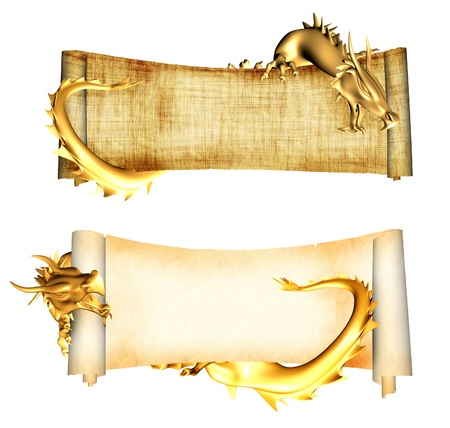 dragon vertical: Dragons and scrolls of old parchments. Object isolated over white Stock Photo