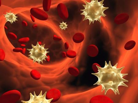 erythrocytes: Viruses floating among erythrocytes Stock Photo