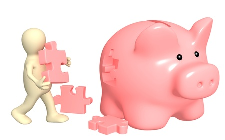 bank branch: Puppet, piggy bank and puzzles. Isolated over white