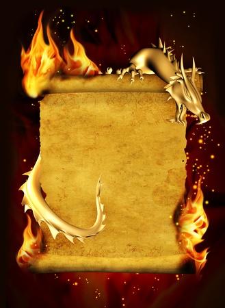 dragones: Drag�n, fuego y rollo de pergamino antiguo. Verticales de fondo Foto de archivo