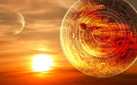mayan prophecy: Fantasy sunset and Maya calendar