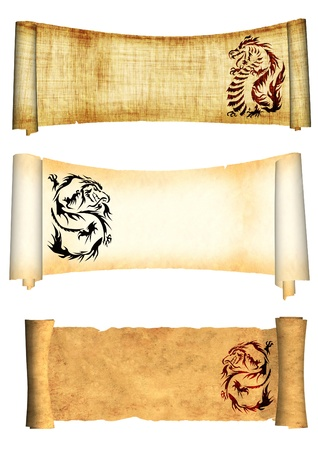 dangerously: Dragons. Collection of scrolls old parchments. Objects isolated over white Stock Photo