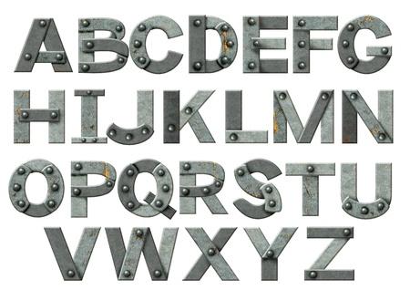 alfabético: Alfabeto - letras do metal oxidado com rebites. Isolado sobre o branco