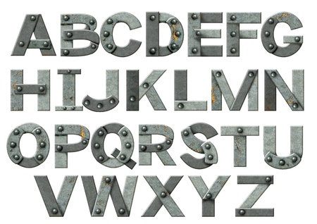 typesetter: Alphabet - letters from rusty metal with rivets. Isolated over white Stock Photo