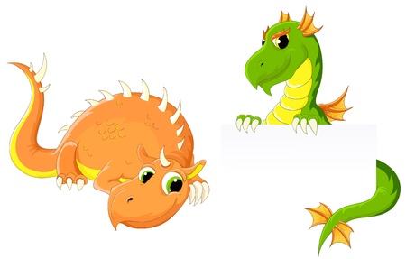 eastern zodiac: Two funny little dragons. Vector illustration