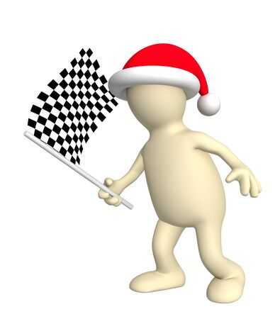 3d puppet with checkered flag. Isolated over white photo