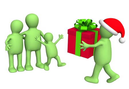 father christmas: Santa Claus, a giving gift to the family. Isolated over white