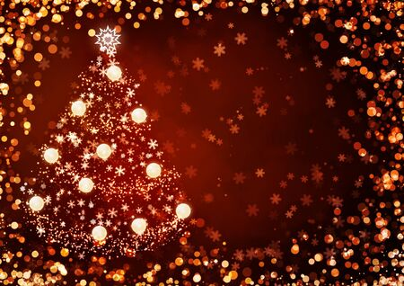 Horizontal background of red color with christmas tree photo