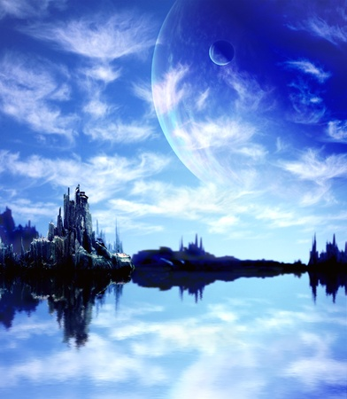Collage - landscape in fantasy planet Stock Photo