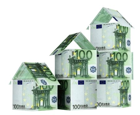 bonus: Houses from euro banknotes. Isolated over white Stock Photo