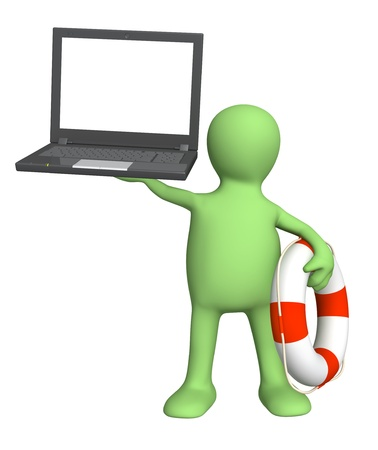 Internet concept - help in the virtual world. Puppet with laptop and lifebuoy. Isolated over white Stock Photo