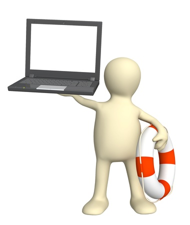 laptop repair: Internet concept - help in the virtual world. Puppet with laptop and lifebuoy. Isolated over white Stock Photo