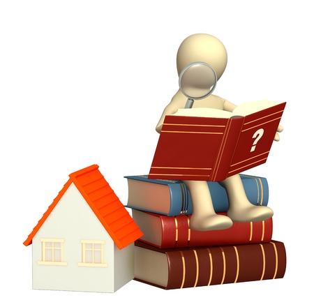 Marionet, het lezen van het woordenboek. Geïsoleerde over wit Stockfoto