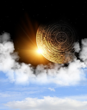 mayan prophecy: Vertical background with Maya calendar and space cloud