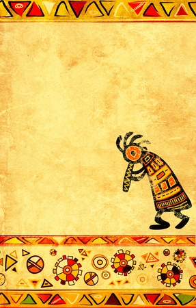 Dancing musician. African traditional patterns photo